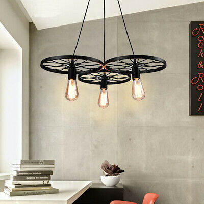 Retro 3 Wagon Wheel Chandelier Cabin Lodge Decor Rustic Light Fixture Ceiling US for sale  Rowland Heights