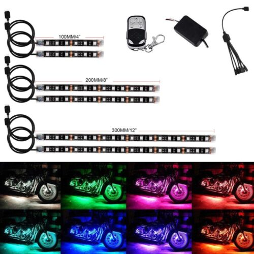 6PCS Motorcycle Led Lights Wireless Remote 18 Color Neon Glow Light Strips Kit 1