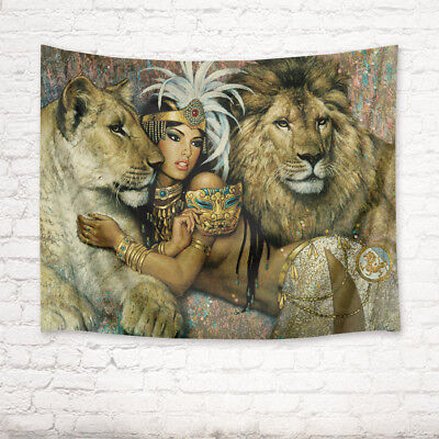 African Tapestry (African Woman Lion Couple Tapestry Wall Hanging Living Room Bedroom Dorm Decor)