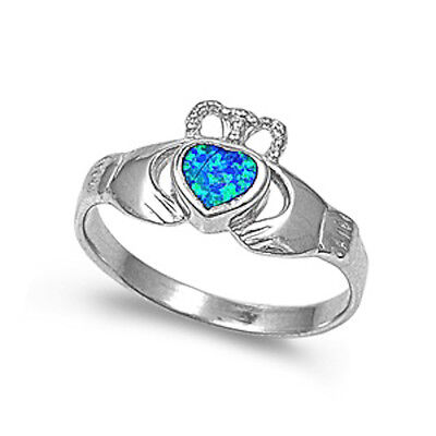 Blue Australian Opal Irish Claddagh .925 Sterling Silver Ring Size 5-9 (Opal-irish Ring)