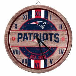 Patriots Wall Clock NFL Decor Wood Red White Blue Football Brady Home Man Cave