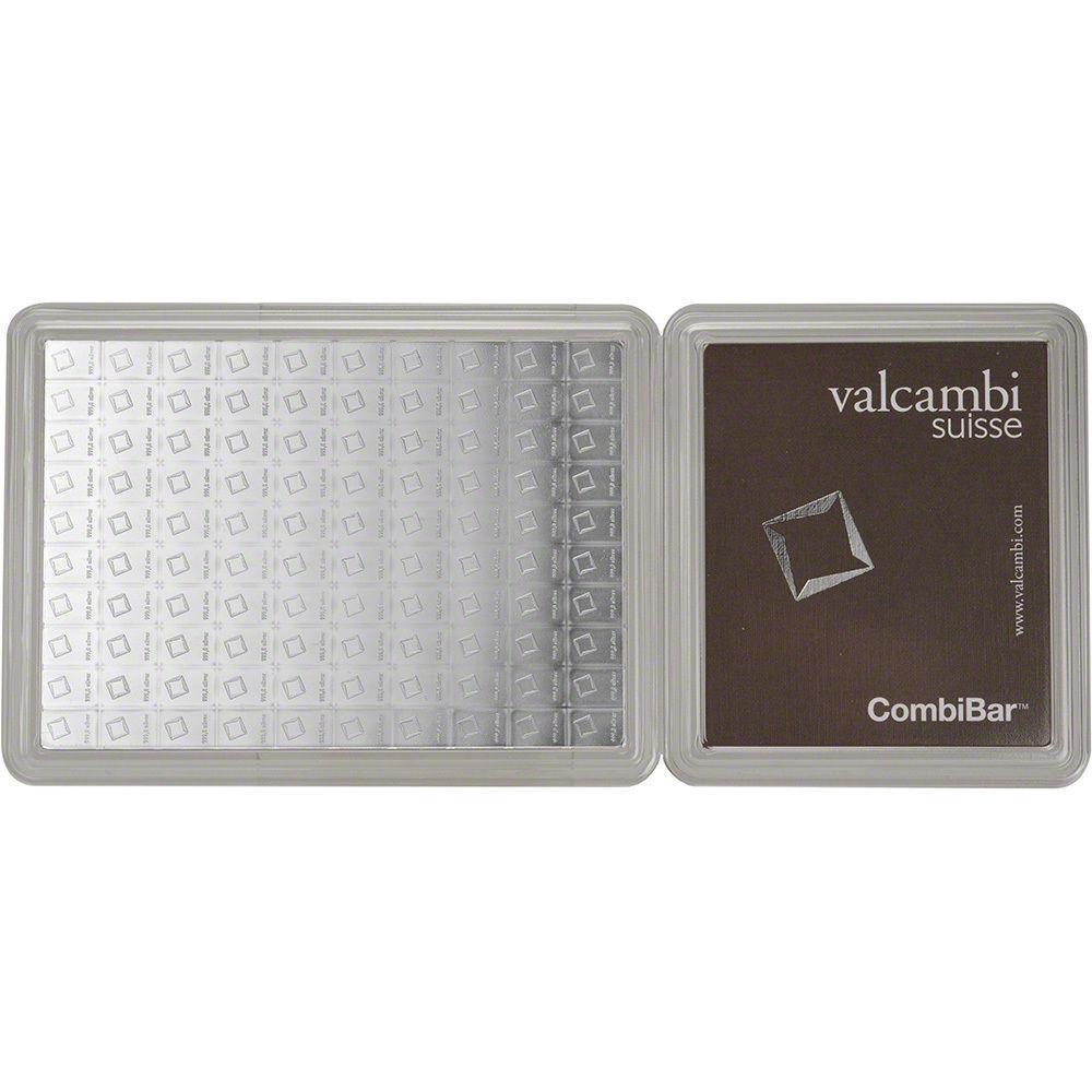 Valcambi 100x1 Gram Silver CombiBar (3.215 oz) with Assay Card