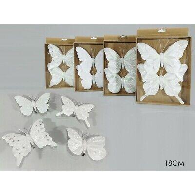 Farfalla in bianco decorazioni per addobbi albero di natale 2pz negozi vetrine c