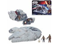 Star Wars: The Force Awakens Battle Action MILLENNIUM FALCON play set with 3 figures -NEW & SEALED