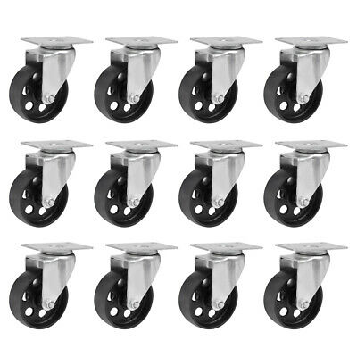 12pcs Heavy Duty Cast Iron Top Plate Bearing Caster 3 Wheels Swivel Casters