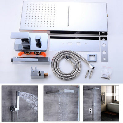 Bathroom Shower Faucet Set Rainfall Waterfall Shower Head System Chrome (Chrome Showerhead System)