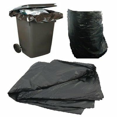 10 Large Black Plastic Polythene Wheelie Bin Liners Bags Sacks Size 30 x 46 x 54