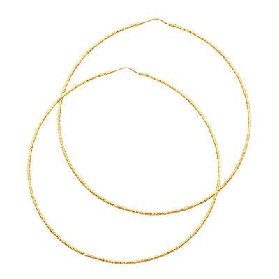 Real 14K Yellow Gold Simple Plain Skinny Rope Large Big Hoop Earrings 1 MM Women 14k 1mm Hoop Earrings