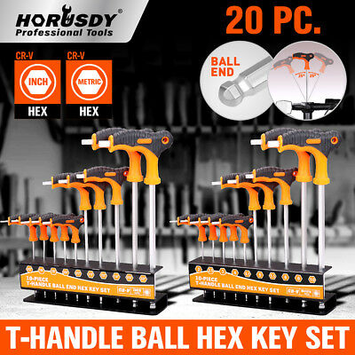 SAE & Metric T Handle Allen Wrench Ball End Hex Key Set w/Storage Stand Long Arm ()