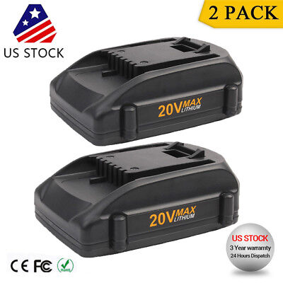 2 Pack 2.0Ah Li-ion 20V Max Battery for WORX WA3520 WA3525 WG251s WG155s WG163