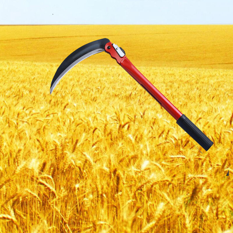 """16"""" Folding Sickle Scythe Steel Mowing Knife Sharp Crops Weed Grass Cutting Tool"""