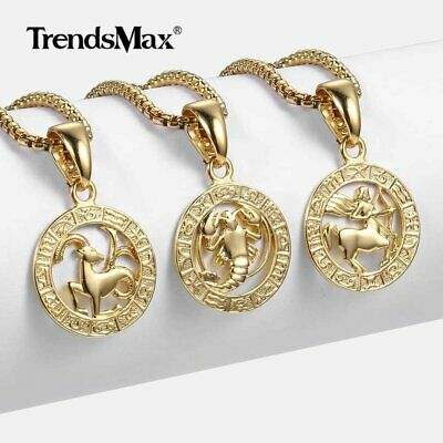 12 Constellation Horoscope Zodiac Sign Gold Plated Unisex Pendant Necklace