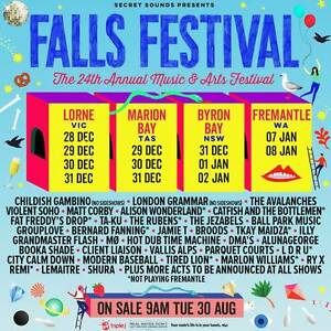 Falls Festival 3 Day ticket plus camping Byron Newport Pittwater Area Preview