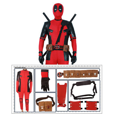 Deadpool Cosplay Costume Suit Hoodie+Belts Set Men Male Jumpsuit Bodysuit