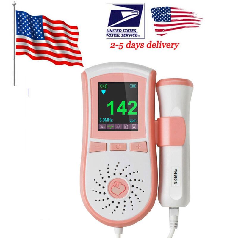 3.0 Mhz Heart Baby Sound Monitor Fetal Doppler Baby Heart Jumper Cute Pink +GEL