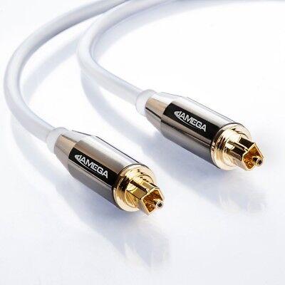 1m Toslink Premium HQ von JAMEGA | Optisches Audiokabel LWL SPDIF Digital - Weiß