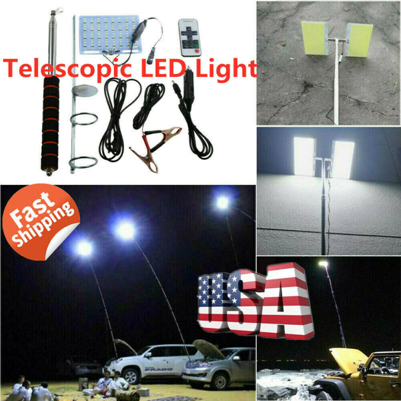 telescopic cob rod led fishing outdoor camping