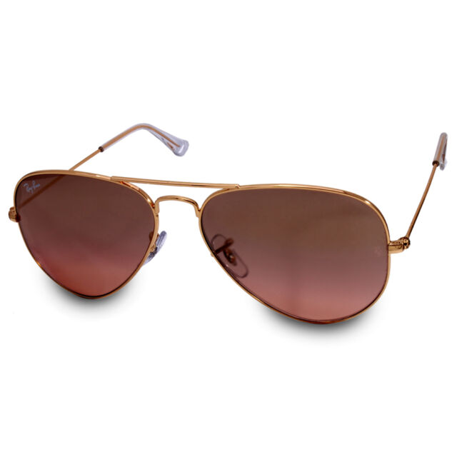 Ray Ban RB3025 001/3E Aviator Large Gold/Brown-Pink Mirror Sunglasses Size 55 58