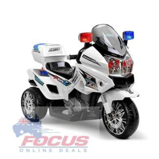 Kids Ride on Motorbike - White - Police