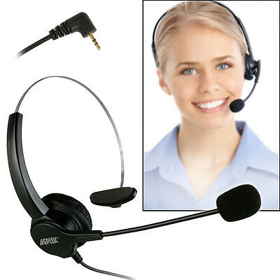 2.5mm Headset for Desk Phones 6FT Hands-Free Noise Cancelling Monaural Headset