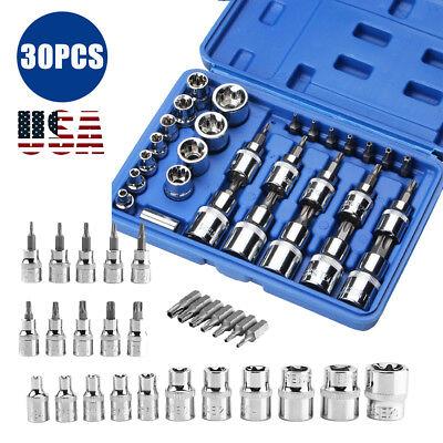 - 30pcs/Set Torx Star Socket Set & Bit Male Female E&T Sockets With Torx Bit Tools