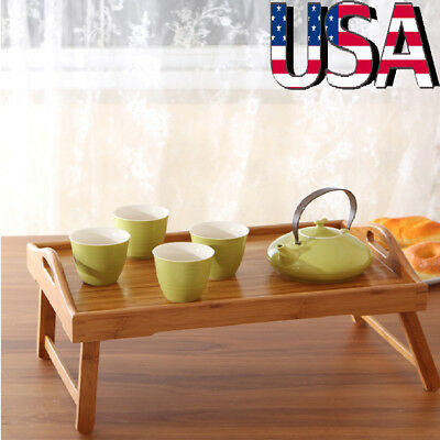 Bamboo Wood Bed Tray Laptop Desk Breakfast Food Serving Table Folding Legs (Wood Bed Tray)