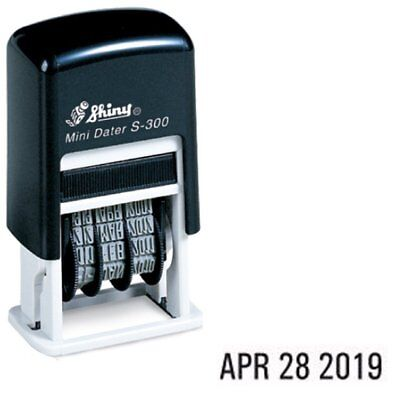 Shiny Self Inking Rubber Date Stamp S-300 Mini Line Dater Black Ink