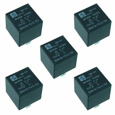 5x 12v Automotive Changeover Relay Wdiode 40a 5-pin Spdt Auto