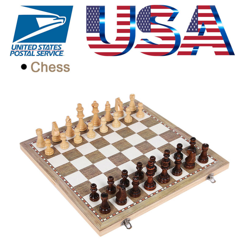 Folding Large Chess Wooden Set Chessboard Wood Board Gift To