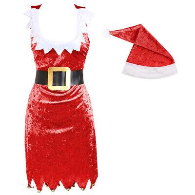 LADIES RED VELOUR MISS SANTA DRESS SEXY MRS CLAUS CHRISTMAS COSTUME FANCY DRESS