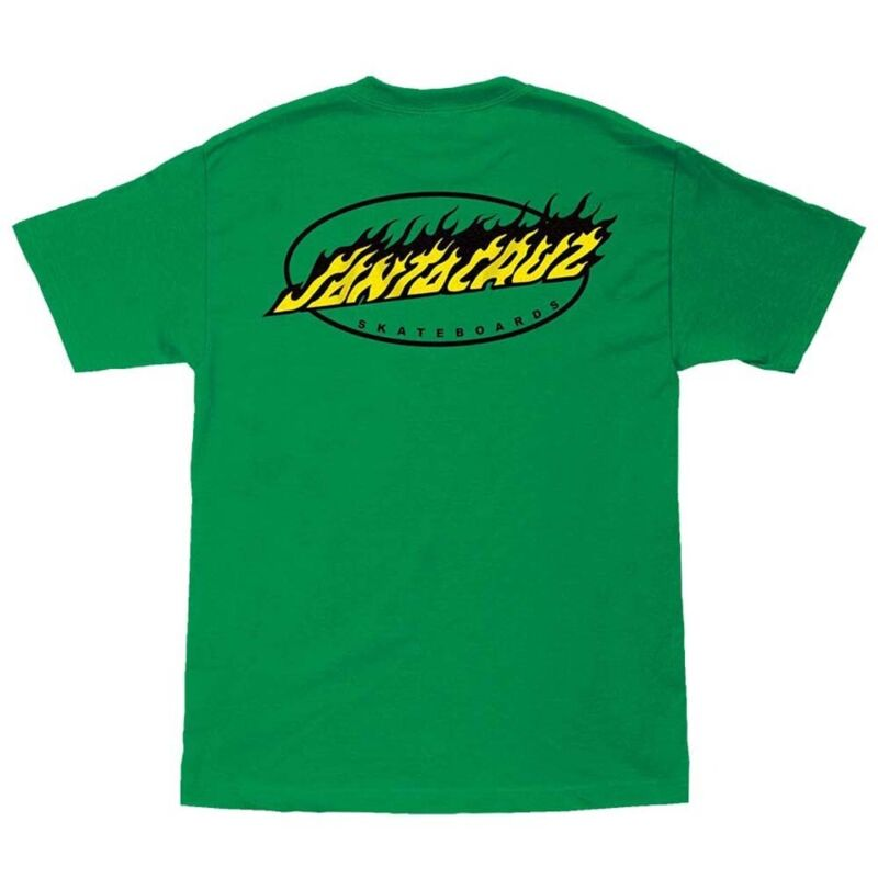Santa Cruz OVAL FLAME DOT Skateboard T Shirt KELLY GREEN LARGE