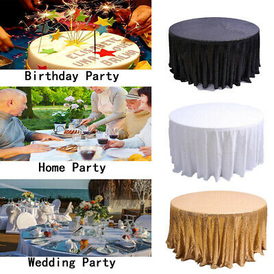 US Gold Round Sequin Tablecloth Cover Christmas Party Dessert Cake Table Cloth - Christmas Table Cloth