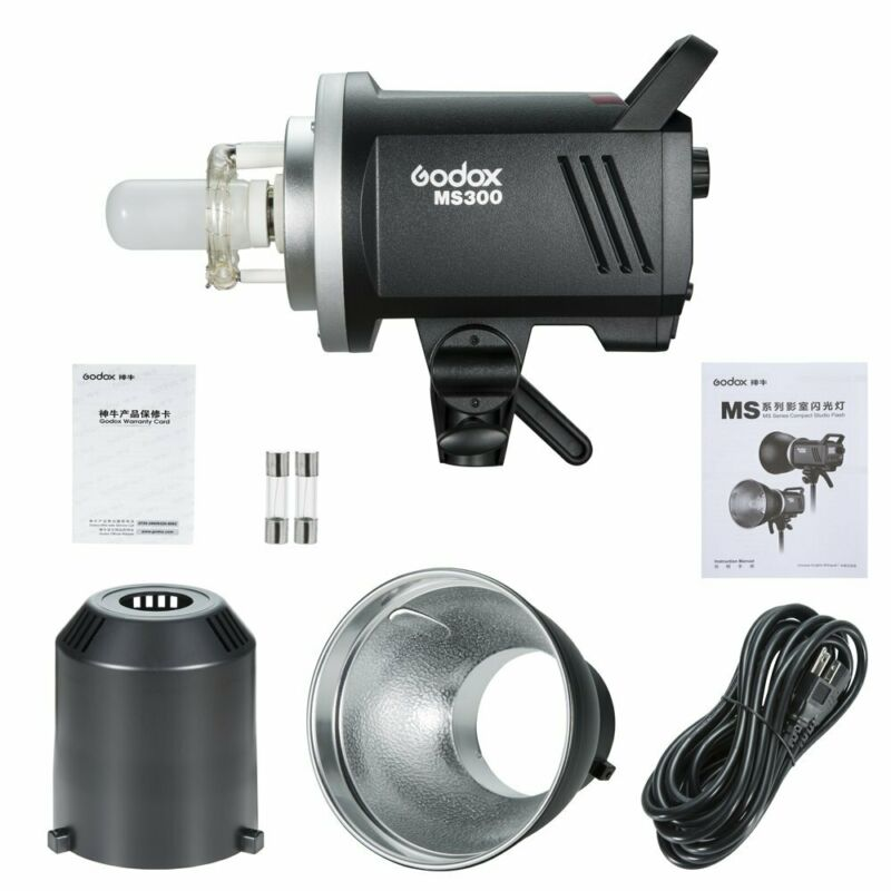 Godox 2.4G MS300 300WS Studio Strobe Head Camera Flash Light Monolight+Reflector