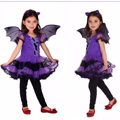 Purple Batgirl Cosplay costume Girls Vampire dress for children Halloween party  - Batgirl Costume For Child