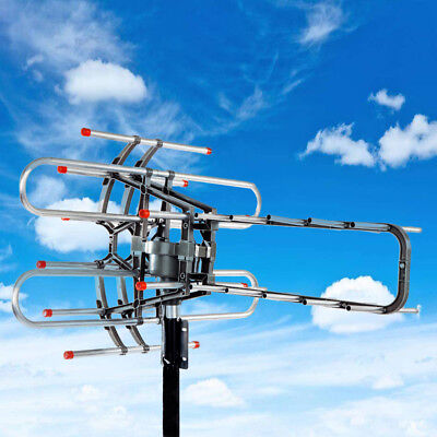 HDTV Outdoor Amplified Antenna HD TV 36dB Rotor Remote 360° UHF/VHF/FM 150 Miles