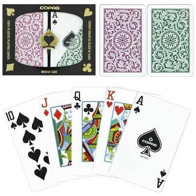 (COPAG Burgundy Green Bridge Size Regular Index Plastic Playing Cards FREE CUTS)
