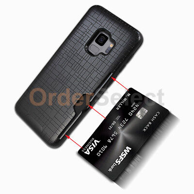 Case Cash Card Slot Shockproof Hard Rubber Plastic Cover for Samsung Galaxy S9 Black Rubberized Plastic Case