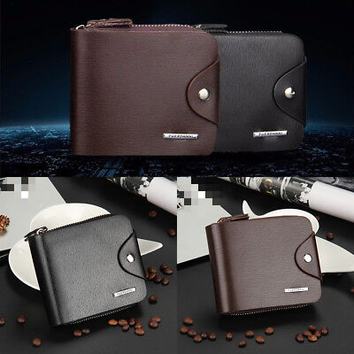 Mens Leather Wallet Credit Card Holder Purse with Zip Luxury Best Gift