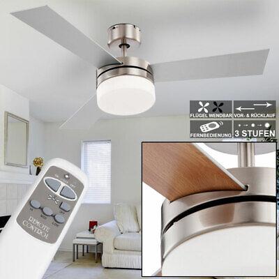 Moderner Ventilator Deckenventilator Nickel (LEISER Decken Ventilator Lampe Wohnzimmer Leuchte Nickel Glas mit FERNBEDIENUNG)