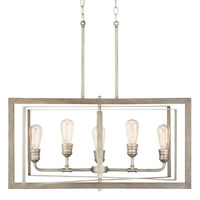 Home Decorators Col. Palermo Grove 5-Light Antique Nickel Linear covid 19 (Nickel Chandeliers White Metals coronavirus)