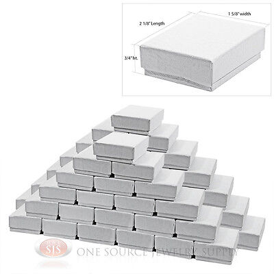 """50 White Swirl Cardboard Cotton Filled Jewelry Gift Boxes 2 1/8"""" X 1 5/8"""" X 3/4"""""""