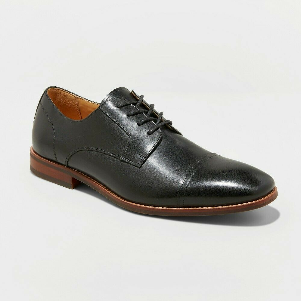 Men's Brandt Leather Cap Toe Oxford Dress Shoes - Goodfellow & Co Black 12