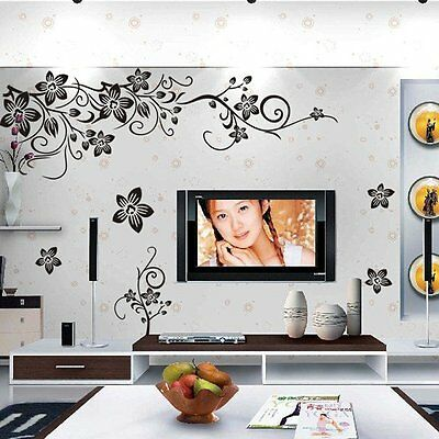 Butterfly Vine Flower Mural Art Wall Stickers Vinyl Decal Home Room Decor YMZ
