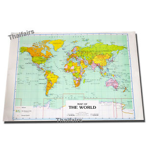 MAP-OF-THE-WORLD-POSTER-Detailed-Colourful-Wall-Chart-FREE-SHIPPING-size-54x79cm