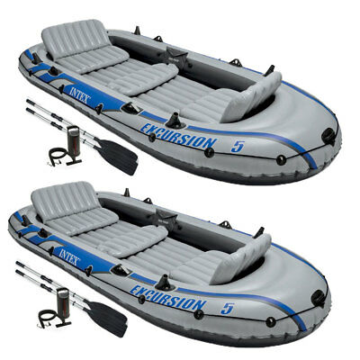 Intex Excursion 5 Person Inflatable Rafting and Fishing Boat