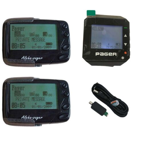 2pcs Programmable Alphanumeric Pager  1 Wrist watch Pager Receiver and 1 Cable