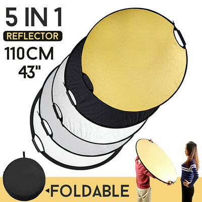43''/110cm 5 in 1 Multi Disc Collapsible Light Reflector Handheld Photography US Collapsible Disc Light Reflector