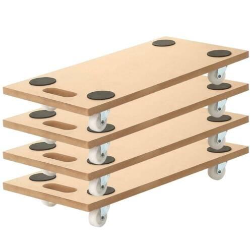 "4 Pack 23""x12"" Dolly Moving Cart Platform 400LB Rectangle Wood Mover Platforms"