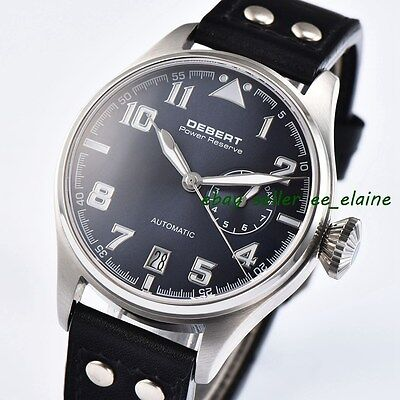 42mm DEBERT Blue Dial Black Rivets Leather Strap Automatic Movement Mens Watch