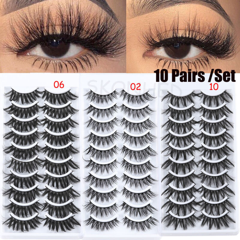 HOT SKONHED 10Pairs*3D Soft Mink Hair False Eyelashes Natura